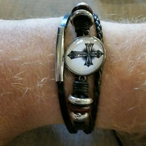 Awesome Leather Draw Cord Cross Bracelet